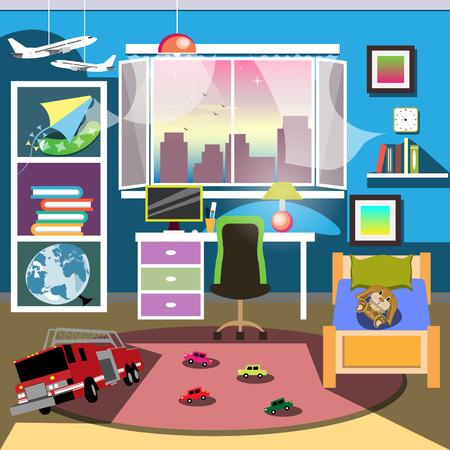 kidsroom: Boy Bedroom Interior.