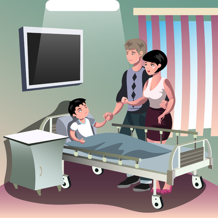 woman lying in bed: Parents with sick boy lying in a medical bed. Illustration