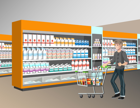 Man with shopping basket in supermarket Illustration
