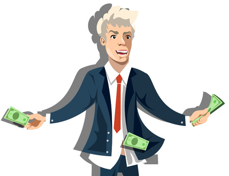 pay raise: Rich businessman character holding money Illustration