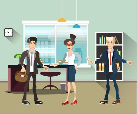 geeky: Office people teamwork, brainstorming in flat style