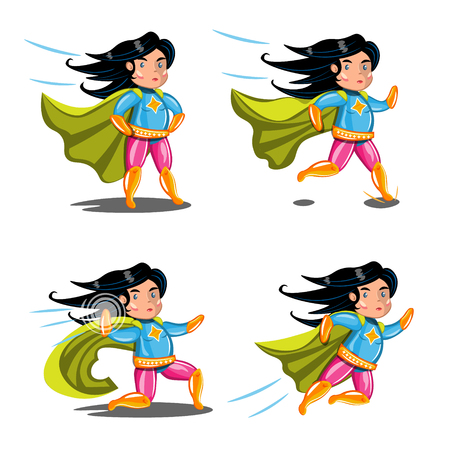 Female superhero action poses collection. Illustration