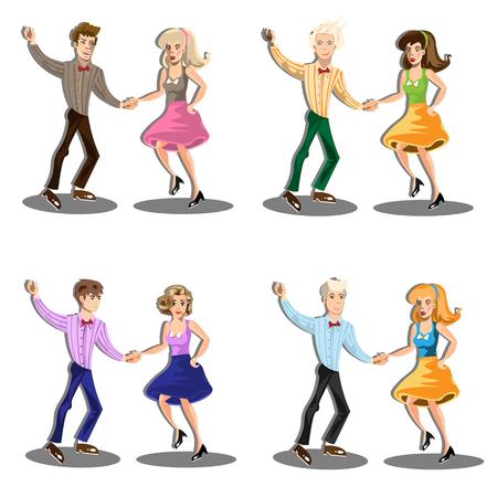 Professional dancer couple dancing Illustration
