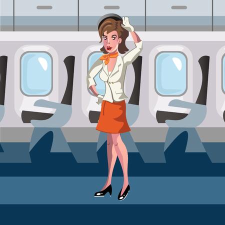 businesslike: Stewardess in the airplane.