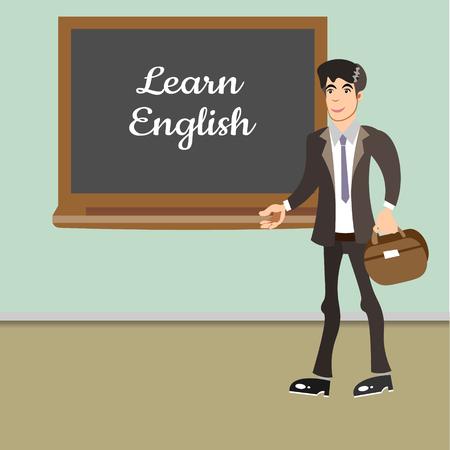 Young teacher by blackboard 向量圖像