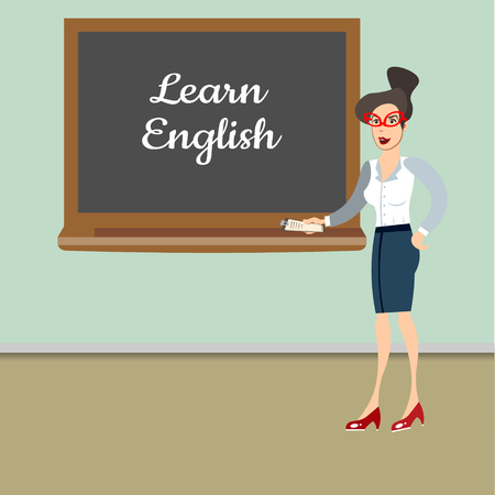 Teacher in front of blackboard teaching student in classroom at school Illustration