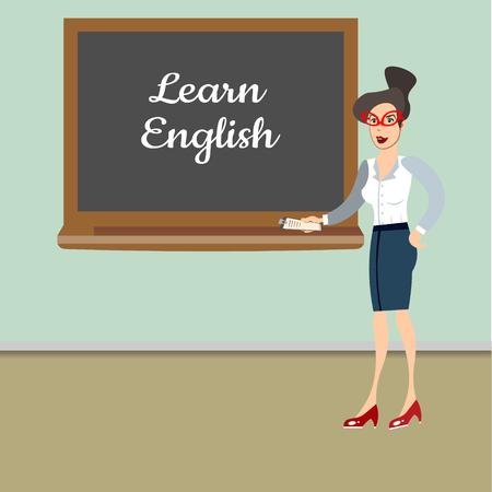 Teacher in front of blackboard teaching student in classroom at school Ilustrace