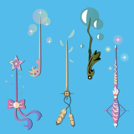 Decorative set with magic wands. Illustration