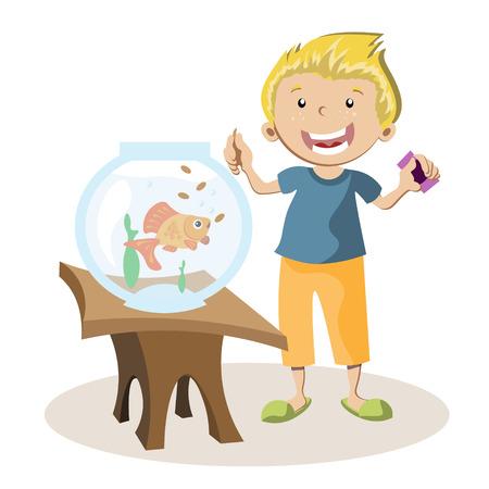 Boy feeding little fish in their fish tank