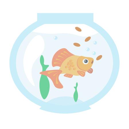 Golden fish in the aquarium Stock Photo