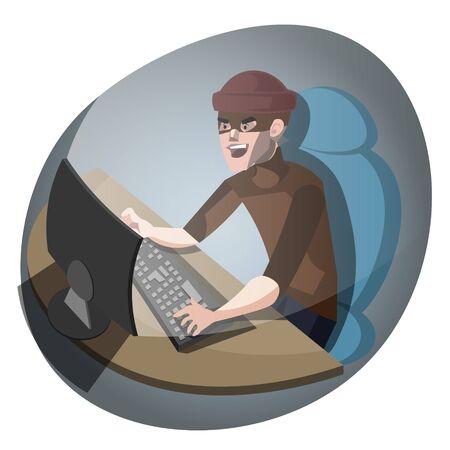 ddos: Hacker at the computer Stock Photo