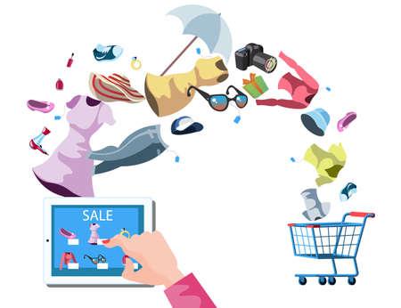 mujer en el supermercado: Web store market with purchasing product process via internet.