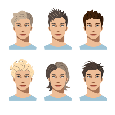 blonde blue eyes: Set different hair style young men
