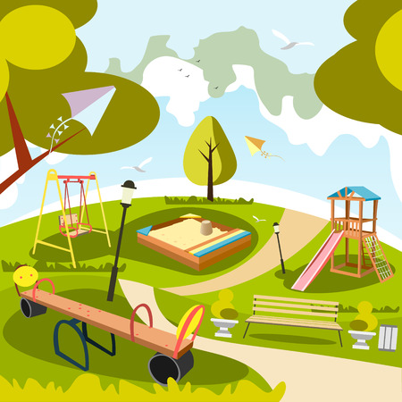 tree isolated: Park and playground cartoon