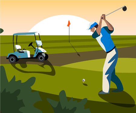 Banners vector image of sports equipment for Golf.  イラスト・ベクター素材