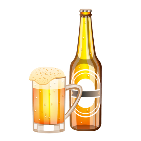 Bottle and glass with light beer Illustration