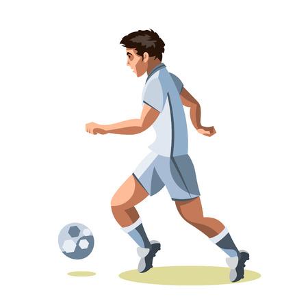 foot ball: Soccer player quick shooting a ball. Stock Photo