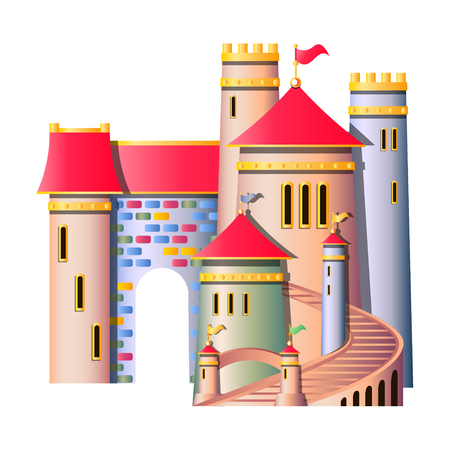 pink hills: FairyTale castle isolated Illustration