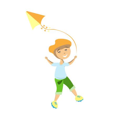 auspicious: Boy flying kite for.