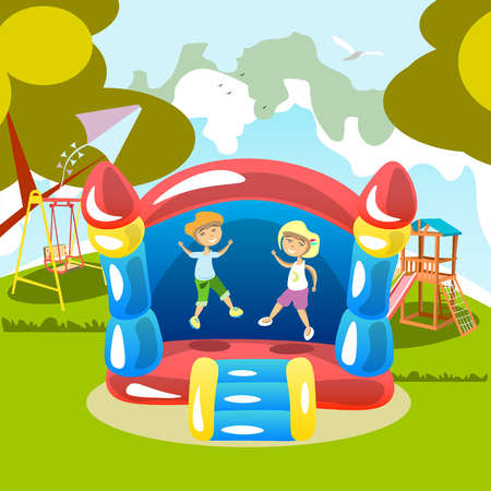 Jumping on a trampoline Kids Outdoor Stock Vector - 80950392