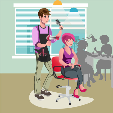 coiffeur: Hair stylist in a barber salon.