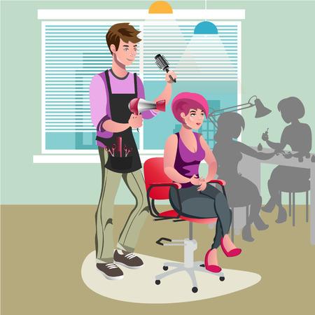 Hair stylist in a barber salon.