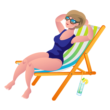 lying in: Young woman sunbathing lying on the beach in a deck-chair. Illustration