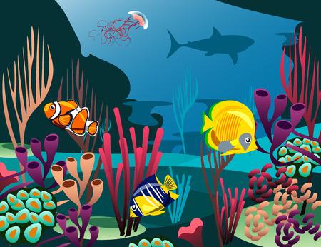 Onderzeese wereld met vissen