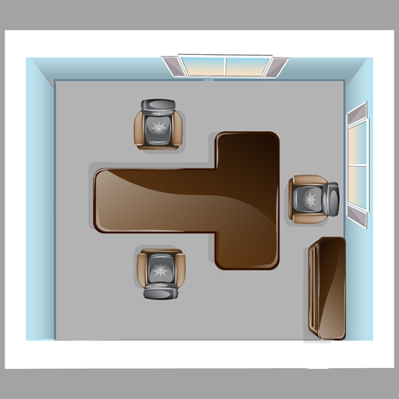 Conference room top view Illustration