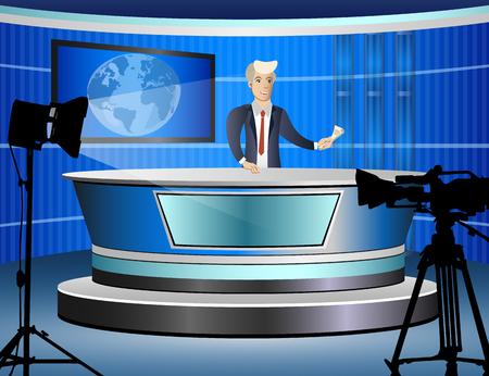Dziennikarz w pracy z tv studio