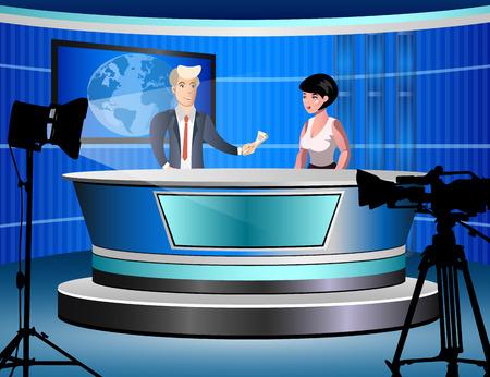 News studio with journalists