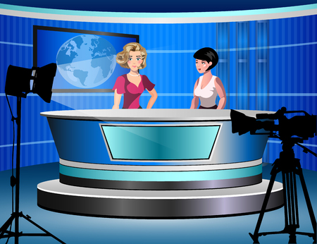 newsreader: two woman reporting tv news sitting in a studio
