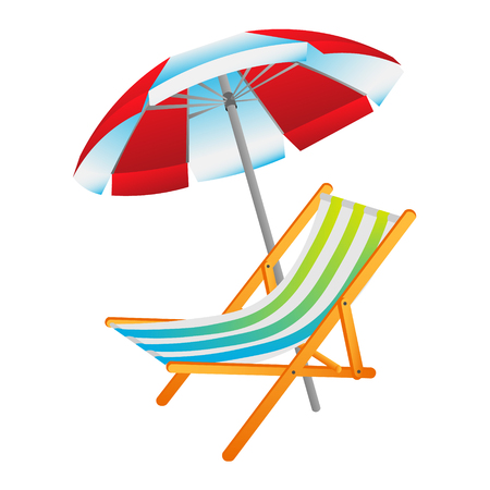 Opened sun umbrella and deckchair