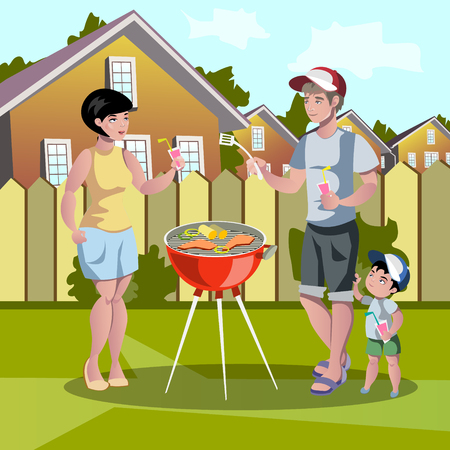 broiling: Happy family Barbecue