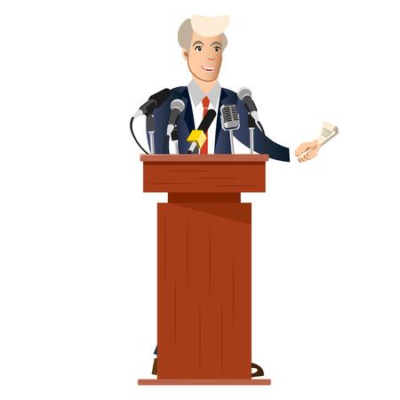 Public speaker with tv microphones.