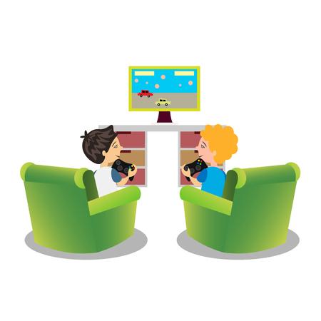 Niños de dibujos animados jugando videojuegos juntos. Ilustración de vector
