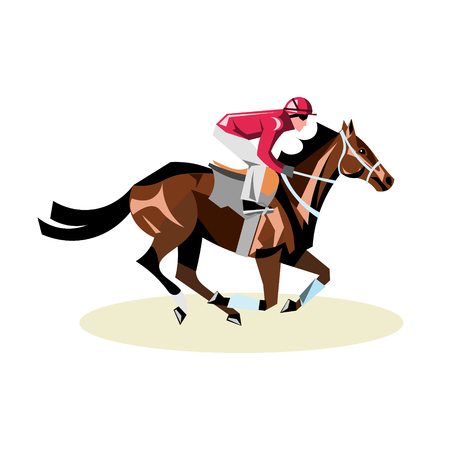 Jockey on horse. Horse racing. Horse riding.