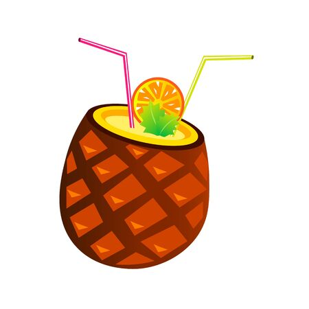 Vector pineapple cocktail with tubes and orange slice Stock Photo