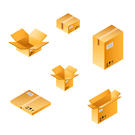 empty warehouse: Isometric box set of different size. Illustration