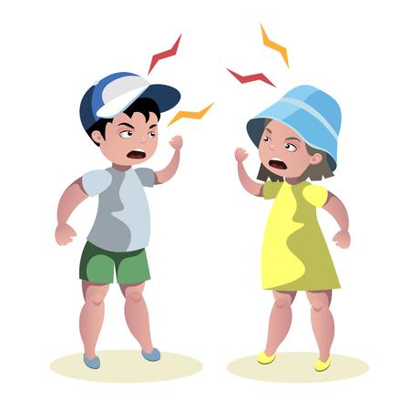 Small angry kids quarrel