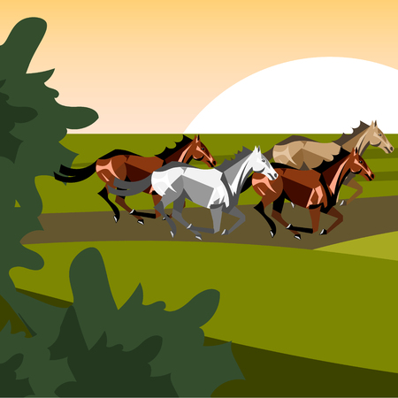Illustration of different breeds of horses.