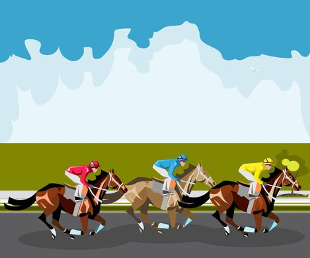 endurance run: Three racing horses competing with each other. Illustration