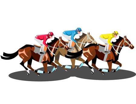 Racing horses competing with each other isolated. Illustration