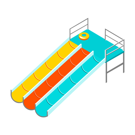 water chute: Water colorful slide isolated.