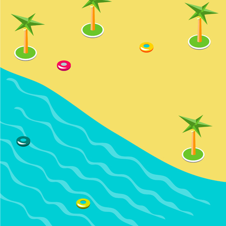 Summer concept of sandy beach in isometric.