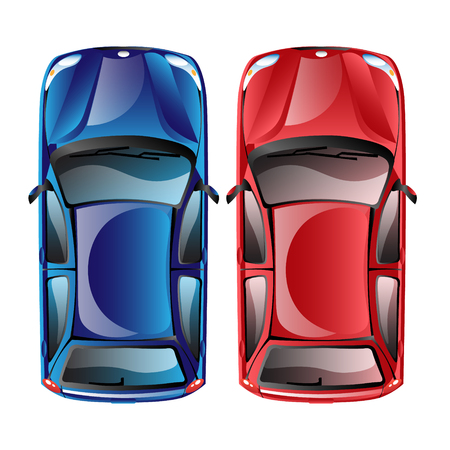 Top view on different colorful car.