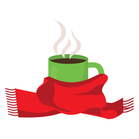 christmas drink: Hot coffee in cup with scarf. vector illustration.