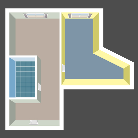 living room interior: Empty house plan top view Illustration