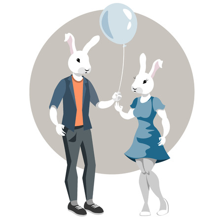 rendezvous: Rabbit-boy and rabbit girl. illustration of dressed bunny.