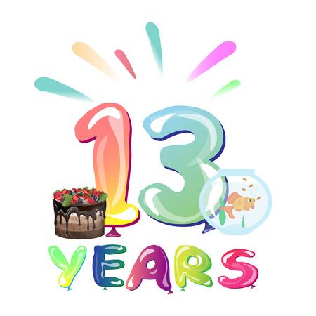 13 years birthday celebration with balloons. Vector illustration